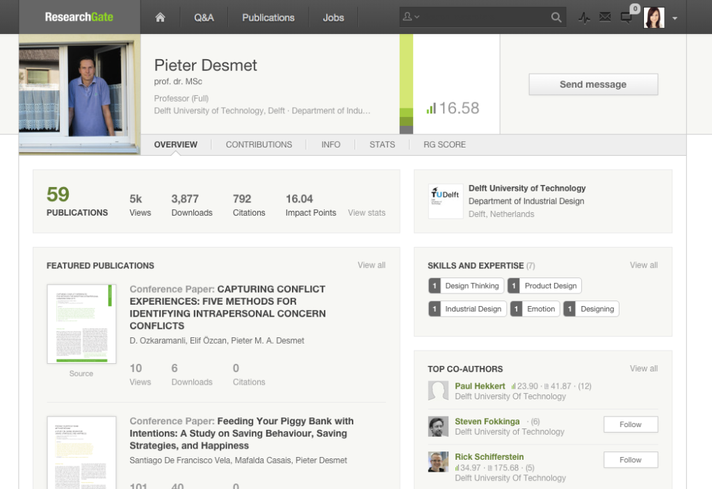 Exemple de profil sur ResearchGate