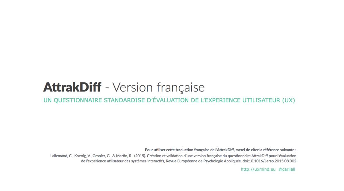 Outil - Questionnaire UX AttrakDiff version française