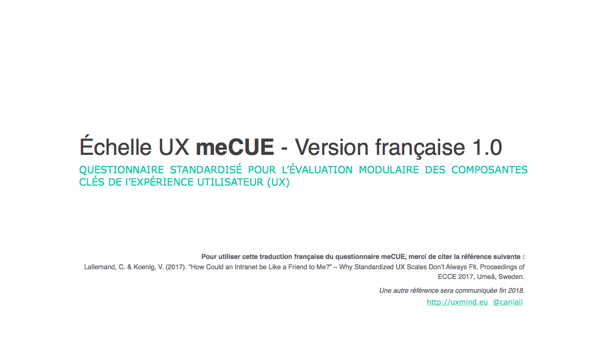 Questionnaire UX meCUE coverpage